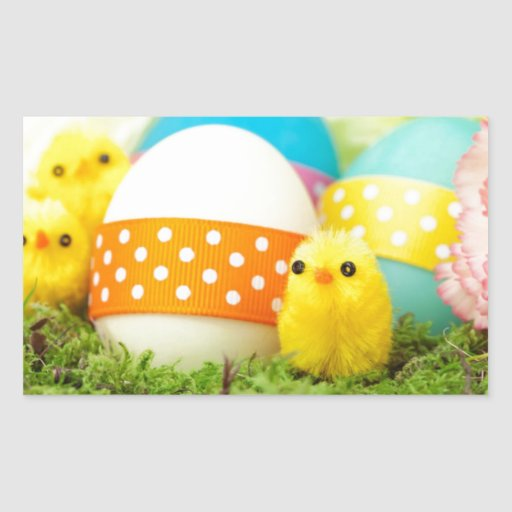 chicks and easter eggs rectangle sticker