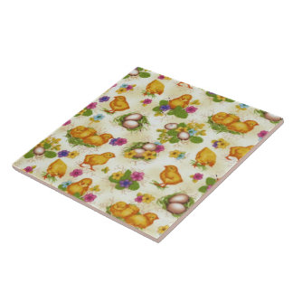 Chicks and Easter Eggs Tile
