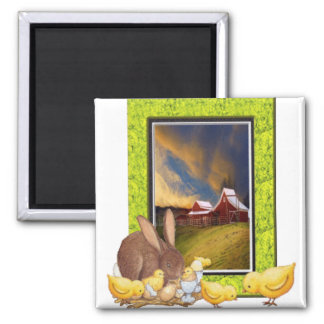 Chicks and rabbit 2 inch square magnet