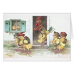 Chicks at School and Rooster Teacher Greeting Cards