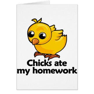 Chicks ate my homework greeting card