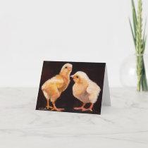 Chicks Bird Art Note Card
