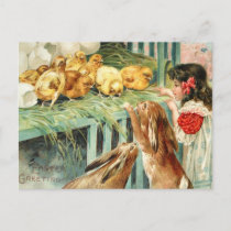 Chicks Bunnies Easter Scene Post Card Vintage