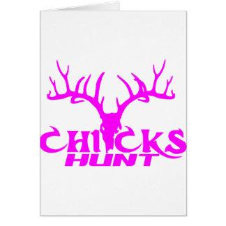 CHICKS DEER HUNT GREETING CARD