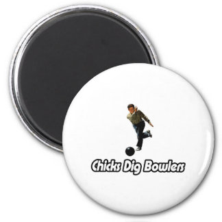 Chicks Dig Bowlers 2 Inch Round Magnet