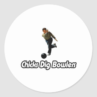 Chicks Dig Bowlers Classic Round Sticker