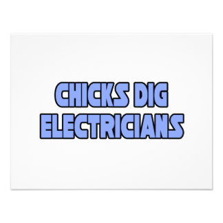 Chicks Dig Electricians Invitations