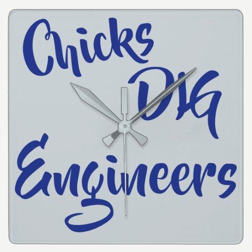 Chicks Dig Engineers Wall Clock