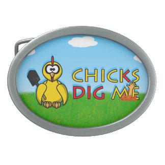 Chicks dig me! oval belt buckles