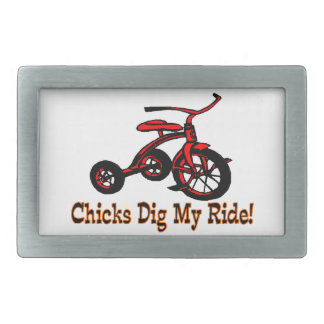 Chicks Dig My Ride Tricycle Rectangular Belt Buckle