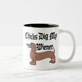 Chicks Dig My Wiener German Gift Two-Tone Coffee Mug
