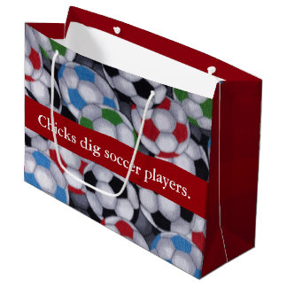 Chicks Dig Soccer Players Large Gift Bag