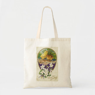 Chicks-Easter Greetings - Vintage Tote Bag