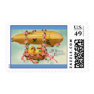 Chicks Fly in a Airship Easter Postage Stamp