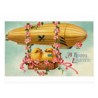 Chicks Fly in a Airship Postcard