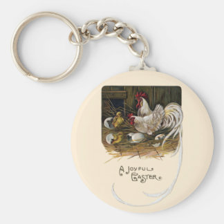 Chicks Hatch in Hen House Vintage Easter Keychain