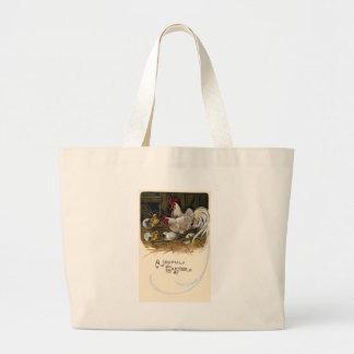Chicks Hatch in Hen House Vintage Easter Large Tote Bag