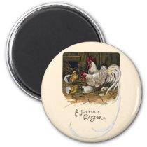 Chicks Hatch in Hen House Vintage Easter Magnet