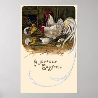 Chicks Hatch in Hen House Vintage Easter Poster