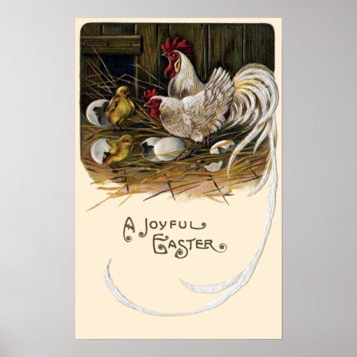 Chicks Hatch in Hen House Vintage Easter Print