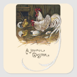 Chicks Hatch in Hen House Vintage Easter Square Sticker