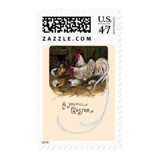 Chicks Hatch in Hen House Vintage Easter Stamp