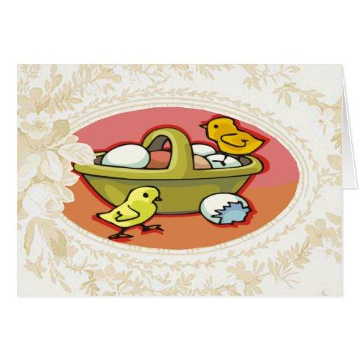 Chicks Hatched In A Basket Easter Card