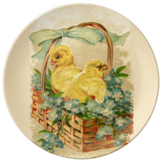 Chicks in a Basket Porcelain Porcelain Plates