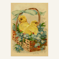 Chicks in a Basket Vintage Easter Poster