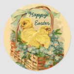 Chicks in a Basket Vintage Easter Stickers