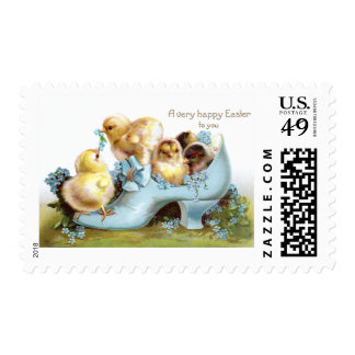 Chicks in a Shoe Vintage Easter Card Stamp