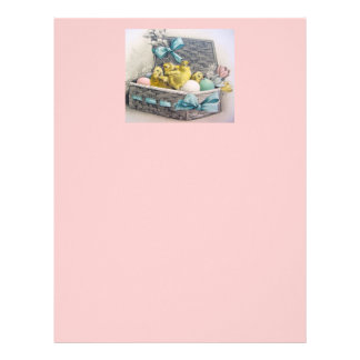 Chicks in basket with eggs and flowers letterhead