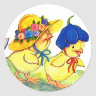 Chicks in Easter Bonnets Classic Round Sticker