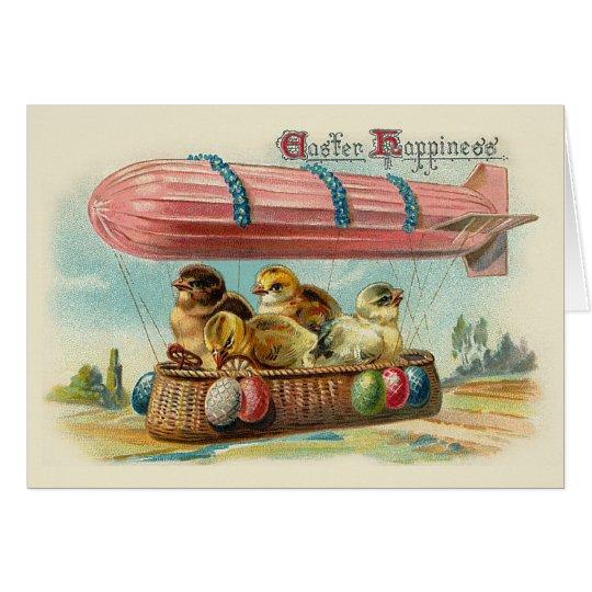 Chicks in Pink Blimp Vintage Easter Card