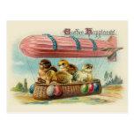 Chicks in Pink Blimp Vintage Easter Postcard