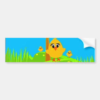 Chicks in Spring Bumper Sticker