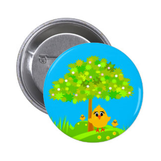 Chicks in Spring Pinback Buttons