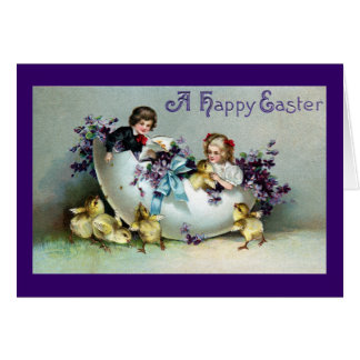 Chicks, Kids, Violets and Giant Eggshell Vintage Greeting Card