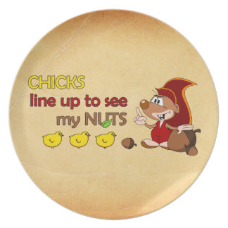 Chicks line up to see my nuts dinner plate