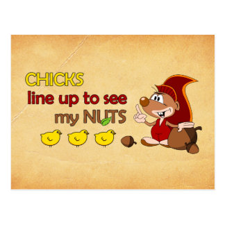 Chicks line up to see my nuts postcard