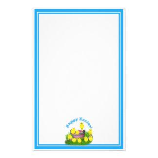 Chicks 'n a Basket w/Blue Text Stationery