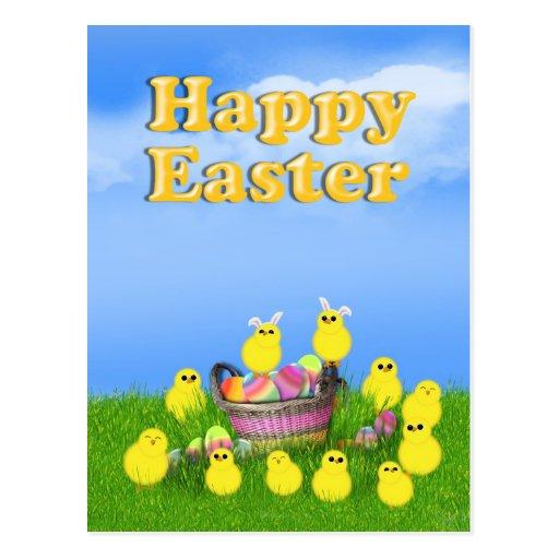 Chicks 'n a Easter Basket Postcard