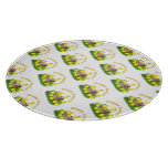 Chicks 'n a Easter Basket (Yellow Text) Cutting Board