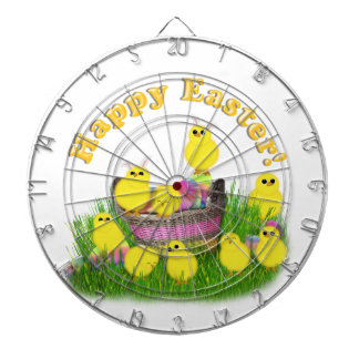 Chicks 'n a Easter Basket (Yellow Text) Dart Board