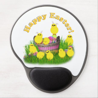 Chicks 'n a Easter Basket (Yellow Text) Gel Mouse Pad
