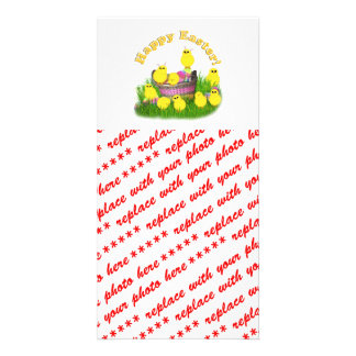 Chicks 'n a Easter Basket (Yellow Text) Photo Card