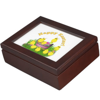 Chicks 'n a Easter Basket (Yellow Text) Keepsake Boxes