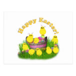 Chicks 'n a Easter Basket (Yellow Text) Postcard