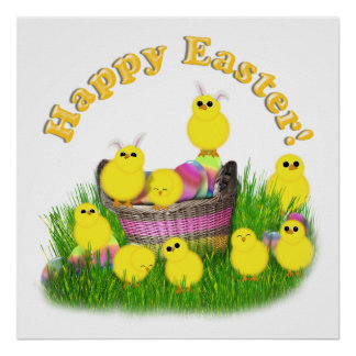 Chicks 'n a Easter Basket (Yellow Text) Poster