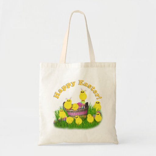 Chicks 'n a Easter Basket (Yellow Text) Tote Bags